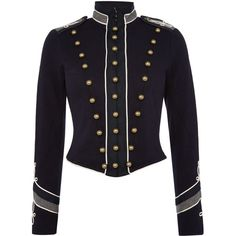 Denim and Supply Ralph Lauren Marching band style jacket ($270) ❤ liked on Polyvore featuring outerwear, jackets, navy, women, water proof jacket, waterproof jacket, navy blue jacket, navy jacket and cotton jacket