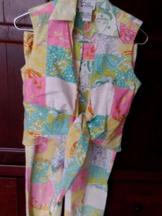 RARE 2 PC. Outfit by Lilly Pulitzer Wrap Top, Matching Pants Size 2. Great Cond.