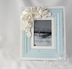 Beach Decor Nautical Seashell Frame  Shell by beachgrasscottage