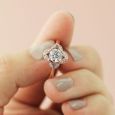 Floral inspired Rose Gold Engagement Ring with vintage details.
