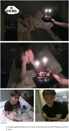 kyungsoo getting woken up for his bday in barcelona aka the cutest thing you have ever seen