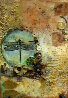 Mixed media encaustic painting by Sanda Reynolds