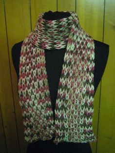 Pink & Brown Knit Scarf by redtailfoxx on Etsy