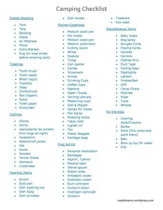 Camping Check List - because if you're like me, you always forget something important!