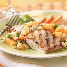 Mahi Mahi with Nectarine Salsa (This is so yummy and healthy. I've made it several times. Love it!)