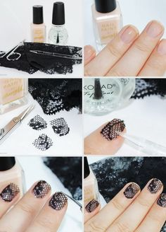 Black Lace Nail Art. This is such a easy and fun mani! Must try.