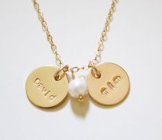 Two Gold Disc Necklace Two Nameplate Necklace  by MiyulaStudio