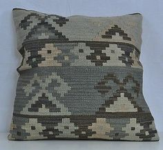 "24"" x 24"" Wool Kilim Kelim Rug Decorative Throw Pillow Case Cushion Cover 4 GREY"