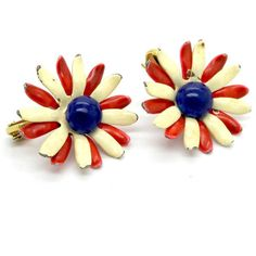 4th of july earrings, Patriotic earrings, Antique earrings, Screw Back... ($15) ❤ liked on Polyvore featuring jewelry, earrings, antique jewellery, daisy jewelry, daisy charm, antique charms and red earrings