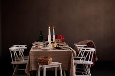 Christmas table linen. LIISA tablecloth, 100% washed linen, woven by Lapuan Kankurit in Finland