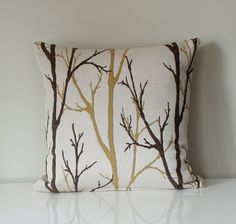 Beige brown branches pillow