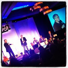 "@jeffjarvis on stage for ""is ROI in social BS?!"" Photo by @katielance"