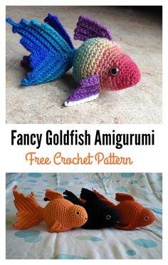 Fancy Goldfish Amigurumi Free Crochet Pattern Crochet Fish Patterns, Crochet Amigurumi Free Patterns, Crochet Dolls, Crochet Yarn, Crochet Gratis, Cute Crochet, Crochet Summer, Crochet Mignon, Bonnet Crochet