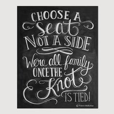 Choose A Seat Not A Side Print - Wedding Ceremony Sign - Wedding Print - 11x14 Print - Fall Wedding