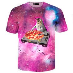 e318ce76 DJ Pizza Cat Tee - All Over Print Apparel - Getonfleek Galaxy T Shirt,  Galaxy