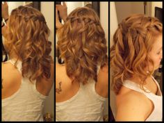 Waterfall braid with curly hair