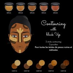 makeup black Contouring Black Up, sur peau noire, mode demploi! Makeup Goals, Makeup Inspo, Beauty Makeup, Makeup Ideas, Diy Makeup, Makeup Tutorials, Black Girl Makeup, Girls Makeup, Hair And Beauty