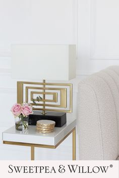 This uniquely designed lamp will add light and luxury to your living spaces. The table lamp is sleek and finished in a gorgeous antique brass tone, complemented beautifully by the striking black, marble base. Complete the modern look in your home with this stunning light. Cream shade included. #sweetpeaandwillow #antiquebrasstablelamp #modernmarblelamp #modernlighting Willow Furniture, Gold Furniture, Large Furniture, Shabby Chic Furniture, Gold Home Decor, White Home Decor, Sofa Design, Interior Design, Design Room