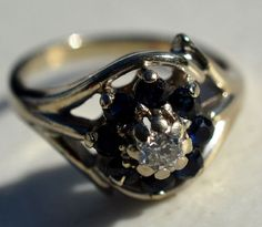 ESTATE 14K WHITE GOLD DIAMOND & BLUE SAPPHIRE RING-585-SIZE 5.5 .50CT TGW ODI #ODI #SolitairewithAccents