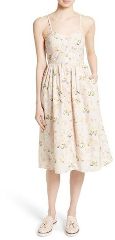 floral granny dress pairs with chucks, bare face and whore lips. chunky rings, leather or denim jacket.