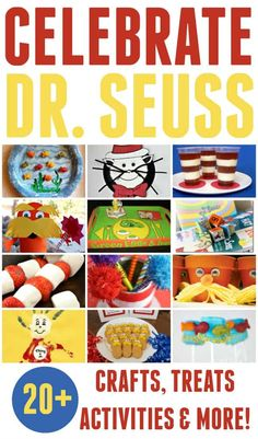 Celebrate Dr. Seuss's birthday,March 2nd, with these awesome and easy Dr. Seuss crafts, treats, activities and more. #DrSeuss #DrSeussCrafts #March2nd #DrSeussDay