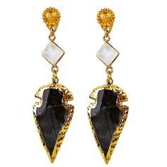Obsidian Arrowhead Earrings. Black obsidian arrowheads with diamond-shaped moonstone cabochons dangle from 22-kt vermeil posts.  2.75 inches. Arrowheads may vary in size. Average .75 inches. #crystal #druzy #rawcrystal #gemstone #earrings #dropearrings #jewelry #sparkle #fashiondiaries #fashion