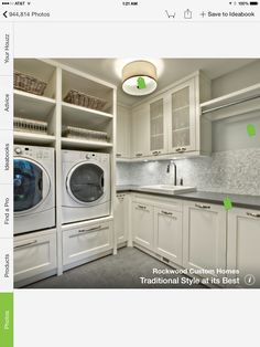 Stunning White Laundry Room Cabinets Ideas at Transitional Laundry Room with Small Tile Backsplash and Concrete Countretop White Laundry Rooms, Mudroom Laundry Room, Laundry Room Remodel, Laundry Room Cabinets, Laundry Room Organization, Laundry Storage, Small Laundry, Laundry Room Design, White Rooms