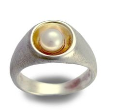 Sterling+silver+ring+silver+and+yellow+gold+ring+by+artisanlook,+$150.00