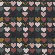 Roxy Muted Heart Rows Cotton Jersey Knit Fabric