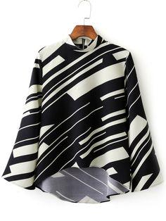 Black White Stand Collar Random Printed Crop Blouse -SheIn(abaday)