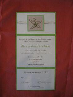 Tri-Fold Invitation with hemp twine.