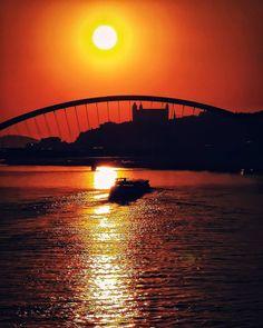 Sunset over Bratislava, Slovakia - Beautiful places for vacation and trip. Bratislava Slovakia, Sydney Harbour Bridge, Sunsets, Photo S, Opera House, Travel Photography, Beautiful Places, Castle, Europe