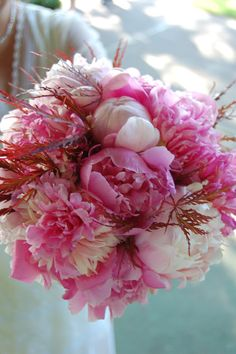 pink peony bride, bridesmaids, and flower girl bouquets