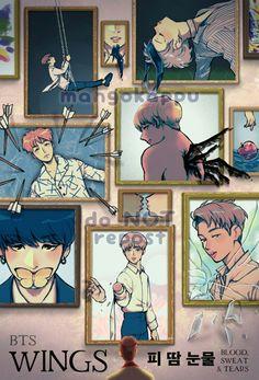 FanArt - BTS no MV Blood Sweat & Tears e no Trailer da The Wings Tour por @mangokappu no Twitter