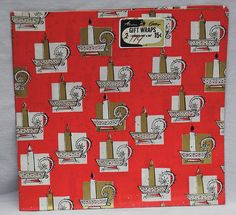 Vintage Christmas holiday wrapping paper gift wrap white red