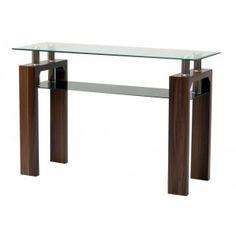 Maya Glass and Walnut Console Table