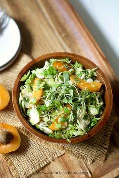 Shaved Brussels Sprout and Apricot Salad recipe at http://www.fearlessdining.com