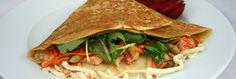 Salmon Thai Crepe Thai Milk Tea, Salmon, Tacos, Menu, Ethnic Recipes, Food, Menu Board Design, Essen, Meals