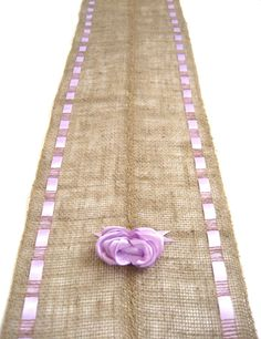 Burlap Table Runner With Lavender Ribbons - Spring Brunch Table Accessory. $19.00, via Etsy.