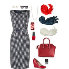 Alumnae at sorority convention always look great! Enter the business session like a boss in this blue dress with white polka dots and accessorized with red! #RLEveryday #sorority #convention #Businessoutfit