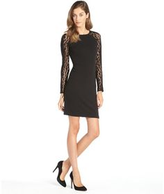 julia jordan black ribbed stretch and lace sleeve 'Bellagio' dress