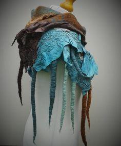 Duck egg blue and brown nuno felt scarf от TuftFelt на Etsy