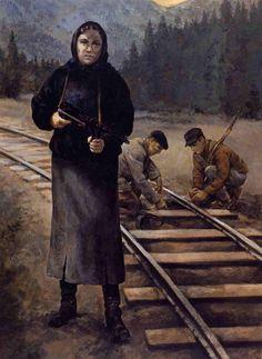 Soviet partisans prepare demolition charges on some train tracks.(Christa Hook)