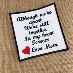 SEW ON Memory Patch - Although We Are Apart, Together Forever, In Memory, Shirt Pillow Patches, Memory Patches #memorypatches #memoryshirtpillows