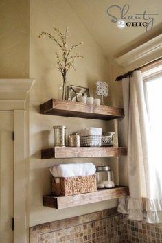 Easy DIY Floating Shelves For Rustic Bathroom.