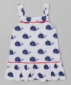 Love this White & Navy Whale Drop-Waist Dress - Infant, Toddler & Girls by Sophie & Sam on #zulily! #zulilyfinds