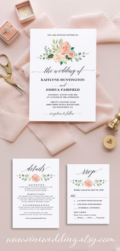 Gorgeous peach floral wedding invitation. affordable and stylish printable DIY wedding invitations. #weddinginvitations #diywedding #floralweddinginvitations #vinewedding