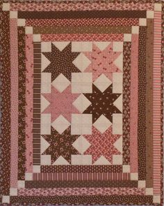 Quaint Little Quilts #3 in pink and brown, pattern by Lori Smith