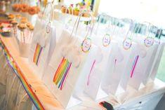 Rainbow cloud favor bags from a Rainbow Birthday Party on Kara's Party Ideas | KarasPartyIdeas.com (8)