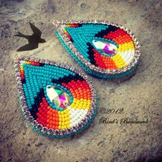 Beaded bling earrings, Bird's Beadwork (Cherokee)